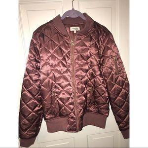 New Bomber Puffer Jacket Charlotte Russe Burgundy